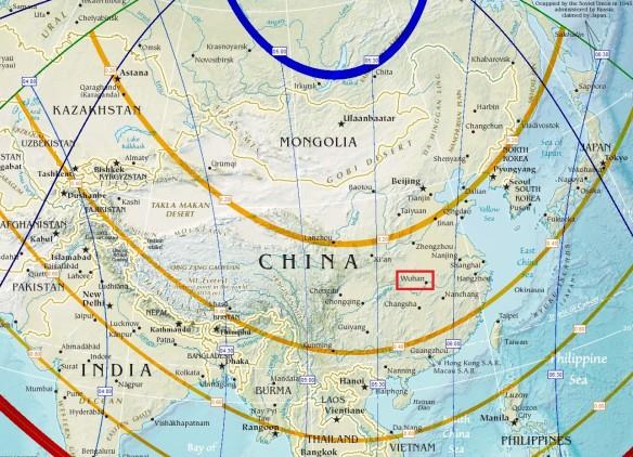 Eclisse di Sole su Wuhan (mappa)